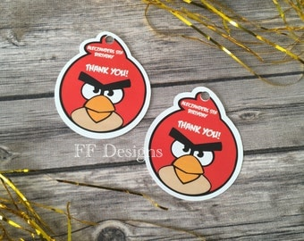 Angry Birds treat bag tags; Gift tags; angry birds Favor Tags