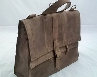 Quality Leather  Satchel with Double Fold over Leather Flap. The Morgan.