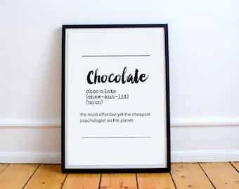 Definition Chocolate - Definition Chocolate Printable Art Custom Quote Digital Prints Art Typography Inspirational Print Funny Wall Art