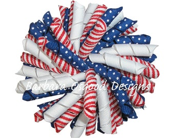 Patriotic Curly Bow - 4th of July Korker Bow - Independence Day Bow