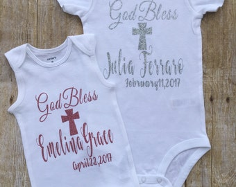 baptism outfit - christening top - baptism girls dress - baptism top - christening one piece - god bless bodysuit - christening top