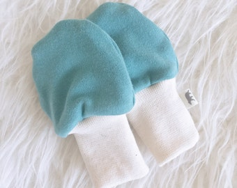SALE - Organic Baby Scratch Mittens - Blue-Green - Knit