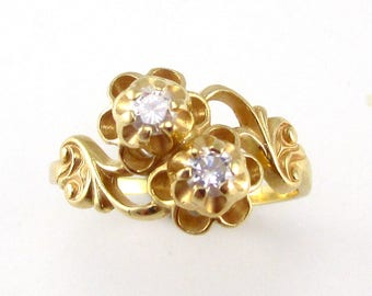 Floral Diamond Yellow Gold Ring
