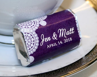 Personalized Miniature Prewrapped Chocolates, Custom Wedding Candy Labels, Miniature Wrappers, Wrapped Chocolate, Doily Design, Wedding