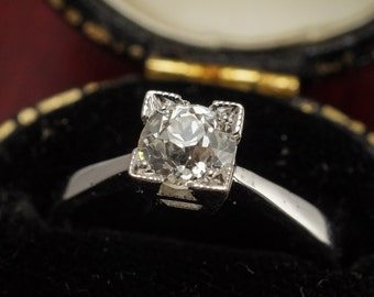 Antique .66ct Old Cut Diamond Solitaire Engagement Ring in 18ct White Gold & Platinum, by Butter Lane Antiques