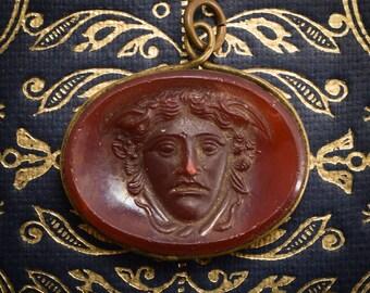 Antique Georgian Medusa Cameo Pendant, c1800