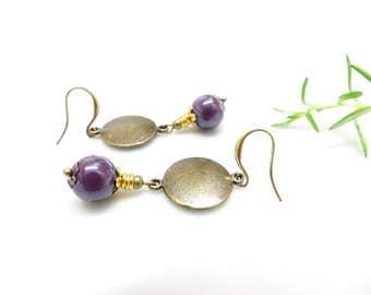Earrings creator plum Pearl. Boho medallion and large Pearl Earrings violet. Purple pearl earrings.