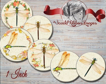 Dragonfly Bottle Cap Images for Bows, Necklaces, Pendants, Birthday Party Favors and more..1 inch round circles