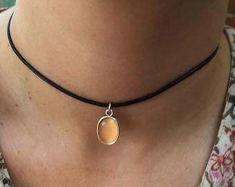 Black Choker, Apricot Choker, Black Leather Choker, Cats Eye, Apricot Jewelry,  Boho Apricot Choker,  Apricot Cameo, Teenagers Gift,