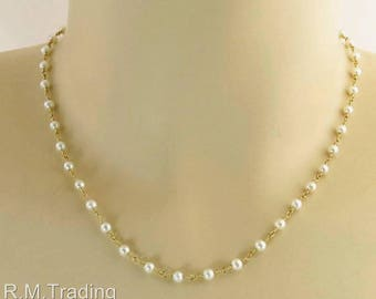 """Estate 14k Yellow Gold 3.5mm Pearl  Hand Crafted 15"""" Necklace 5.1 gram"""