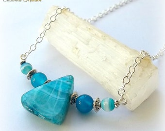 Turquoise Blue Agate Necklace, Bar Necklace, Gemstone Necklace, Beaded Necklace, Agate Stone, Agate Beads, Blue Necklace, Gemstone Jewellery
