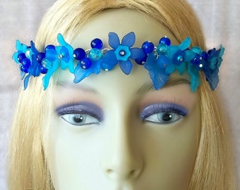 Blue Flower Circlet, Flower Headpiece, Wedding Crown, Bridal Headdress, Pagan Festival, Beltane, May Queen, Spring Equinox, Summer Solstice