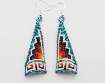 native american jewelry, navajo, native american beadwork,earrings, native american beaded jewelry, Navajo Beaded Earrings, Native American