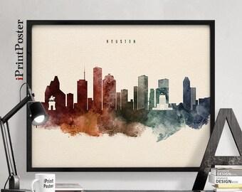 Houston Skyline Etsy