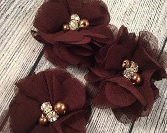 "Brown Chiffon Flower with Pearls, 2"" Chiffon Flower, Pearls, Flower,  Headband Accessories, Craft Suppliers,"