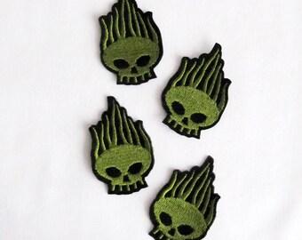 4PCS.Green Alien Applique Alien Patch Skull Patch Green Skull Applique iron on patch