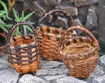Round Fruit Baskets, 3 Piece Set for Miniature Garden, Fairy Garden