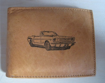 "Mankind Wallets Men's Leather RFID Blocking Billfold w/ ""1965 Ford Mustang Convertible"" Image~Makes a Great Gift!"