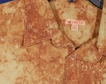 Men's Merona brand shirt modified with dye made from rust. Size Large.