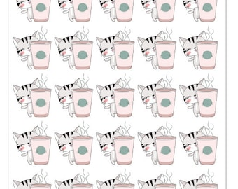 Coffee Drinking Cat Planner Stickers