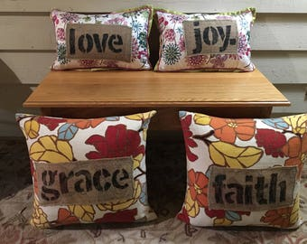 Upcycled vintage feather pillows