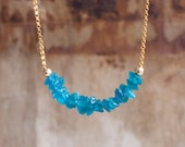 Raw Neon Blue Apatite Necklace in Silver or Gold Neon Apatite Bar Necklace Bright Blue Apatite Necklace Rough Apatite Crystal Jewelry