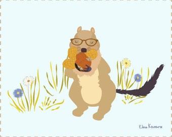 Nut Crazy - Modern, Quirky, Cute, Woodland Creature, Squirrel Illustration Print