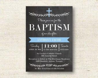 Elegant Laurels Baptism/Christening Invitation  | DIGITAL FILE