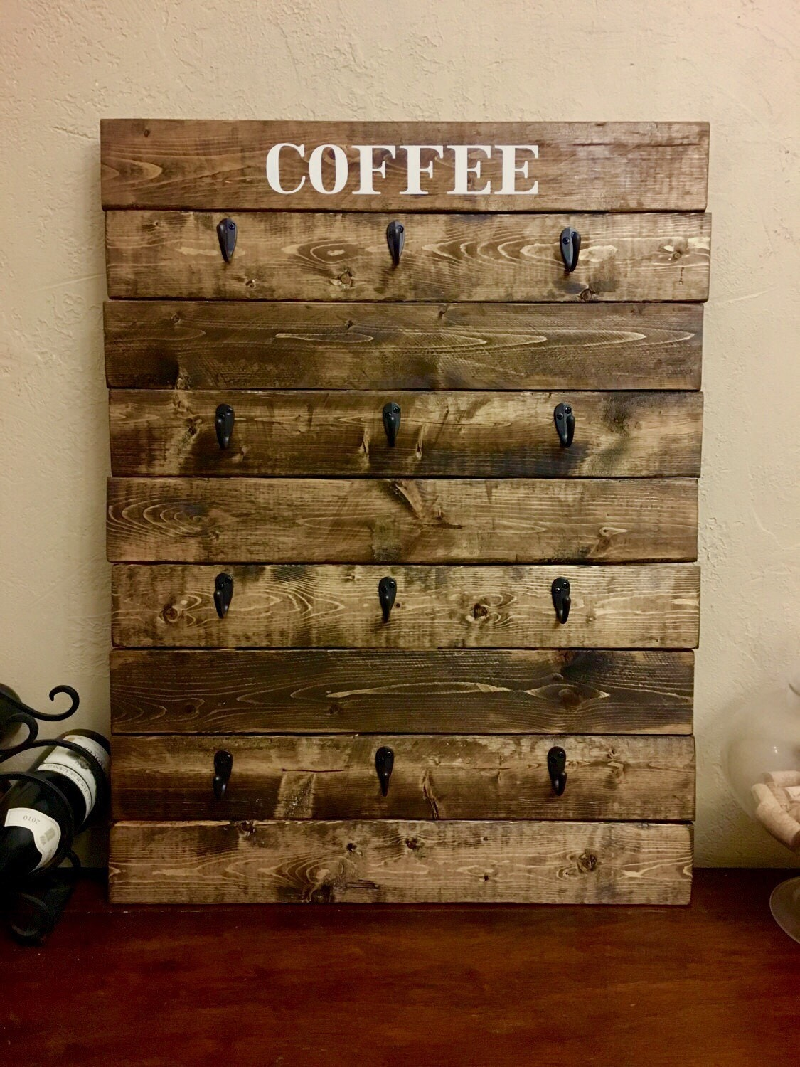 Kitchen Chalkboard With Shelf Mug Rack Etsy