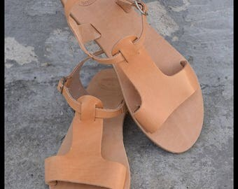 Greek leather sandals, Gladiator Sandals, Greek Sandals, Flats, Womens sandals, Handmade, Anti slip rubber, Summer sandals, Natur