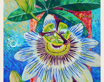 Passion Flower - Original colorful traditional acrylic painting on paper 9x12""