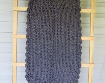 Crocheted Rag Rug Charcoal Gray JW190