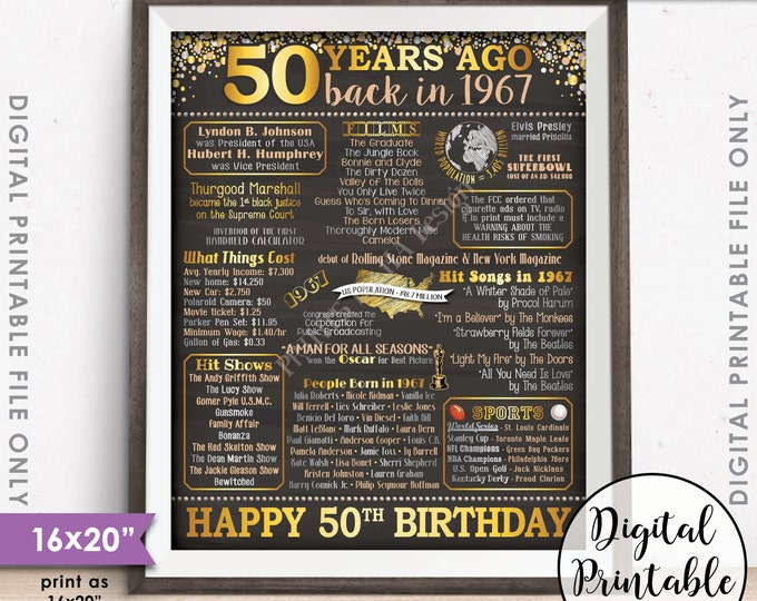 """50th Birthday Gift 1967 Poster, 50 Years USA Flashback Instant Download 8x10/16x20"""" Born in 1967 Birth 50th B-day Chalkboard Style Printable"""