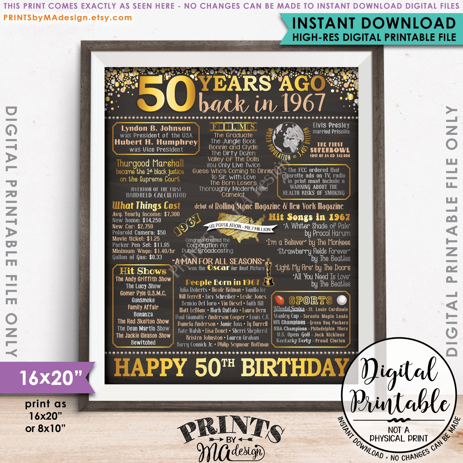 Design a 16x20 poster - 50th Birthday Gift 1967 Poster 50 Years Usa Flashback Instant Download 8x10 16x20 Born In 1967 Birth 50th B Day Chalkboard Style Printable