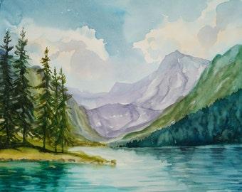 SALE! Original Watercolor Painting, Mountain Watercolor,Mountain Landscape,Watercolor painting,Watercolour Picture,Mountain Art,Original Art
