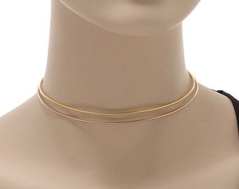 Gold Choker, Choker Necklace, Rose Gold Neck Cuff, Gold Neck Collar, Minimal Choker, Cuff Necklace, Gold Wire Necklace,