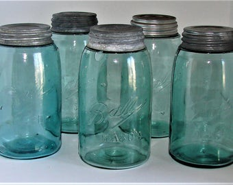 QT Blue Green Mason Jars WIth Zinc Lids & Bubbles In The Glass. Old Masons Great Wedding Decor Rustic Home Decor