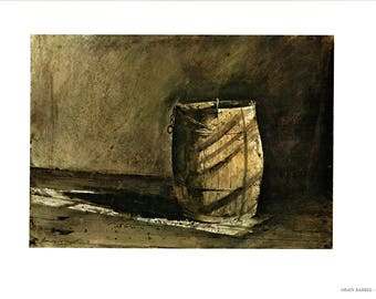Large bookplates from Andrew Wyeth, Grain Barrel and May Day. The page is approx. 16 3/4 inches wide and 13 inches tall.