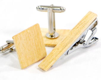 Husband Gift Idea - Wood Cufflinks And Tie Clip Wedding Gift Set - Made From Wood Unique Cuff Links - Modern Gift For Him