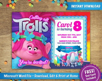 DIY Printable 5x7 Trolls Poppy Birthday Party Invitation Template | FREE Tent Card Included  | Instant Download - Microsoft Word