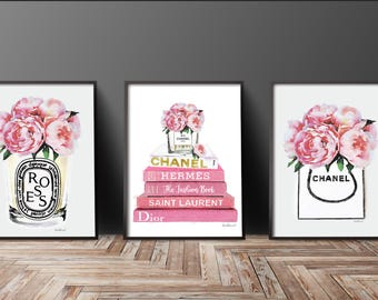 Pale Pink Set of 3 fashion posters perfume, books, flowers, Watercolor Peony Gold watercolour Fashion decor fashion illustration above bed