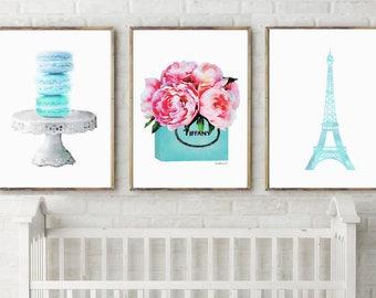 Set of 3 Parisian, french, teal, macaroon, eiffel, peony , Nursery Print, Nursery Art Print, Nursery Wall Art, Baby Room, Kids Wall Print
