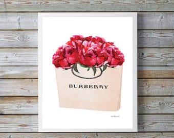 Fashion wall art, fashion, Watercolor red peony, fashion bag, shopping bag, Fashion Painting, Fashion Print, fashion shopping bag, gift for