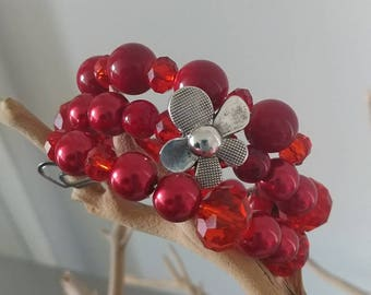 Wire beaded wrap bracelet - red