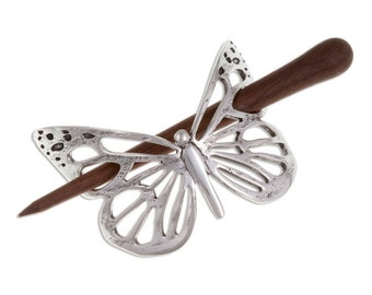Butterfly hairslide with rosewood pin-Hand Made and Design in UK