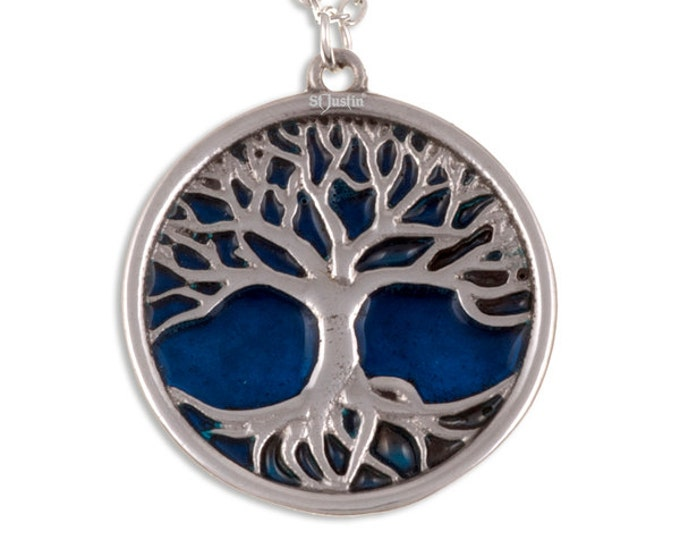 Tree of life pendant with blue enamel- Ideal Gift For Mom-Her-Anniversay-Birthday or Just For You