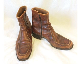 Vintage Men's Brown Leather Ankle Boots Size 9