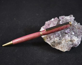Wooden Pen made from Purple Heart Wood Hand Crafted and Turned In Devon
