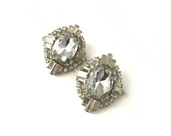 Large Vintage Deco Style Rhinestone Earrings