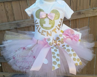 pink and gold minnie mouse birthday outfit glitter Minnie mouse smash outfit Minnie tutu minnie first birthday outfit personalized